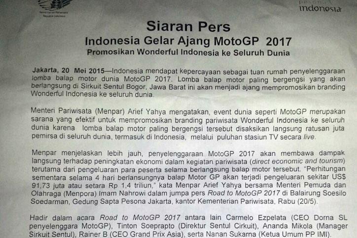Didukung Pemerintah, Peluang MotoGP Indonesia 2017 Sangat Besar - BALAPMOTOR.NET