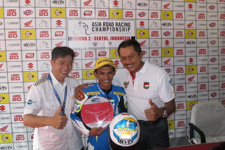 Andreas Gunawan berhasil menjadi juara kedua Suzuki Asian Challenge 2015 race kedua