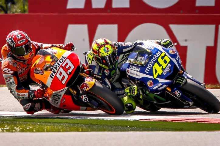 Rossi--Marquez-Touches-Assen