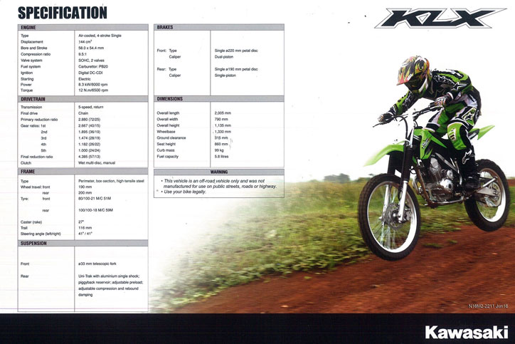 Specification_New_KLX150