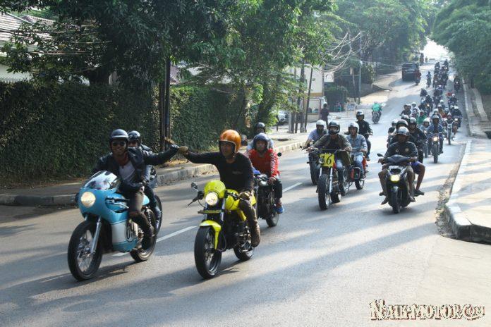 Motor Cafe Racer Anak Jokowi Ikut Riding Gembira ke Jejak Roda 2018