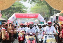 Kirab Obor Asian Games 2018 di Jakarta Dikawal 250 Vespa