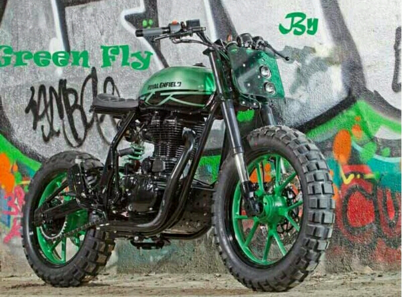 Royal Enfield Classic 500 Custom Green Fly Beraliran Ekstrem