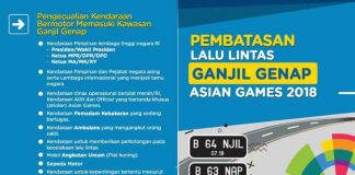 Aturan Ganjil Genap Asian Games 2018