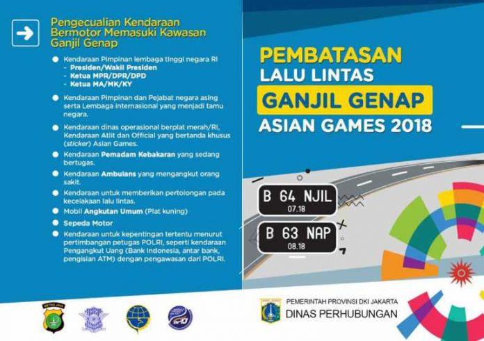 Aturan Ganjil Genap Asian Games 2018
