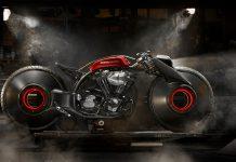 NaikMotor – Sesi presss conference Suryanation Motorland Show Off juga ikut membuka selubung motor custom iconic bike The Spirit dari Bali karya Smoked Garage bergaya Neo Board Tracker.