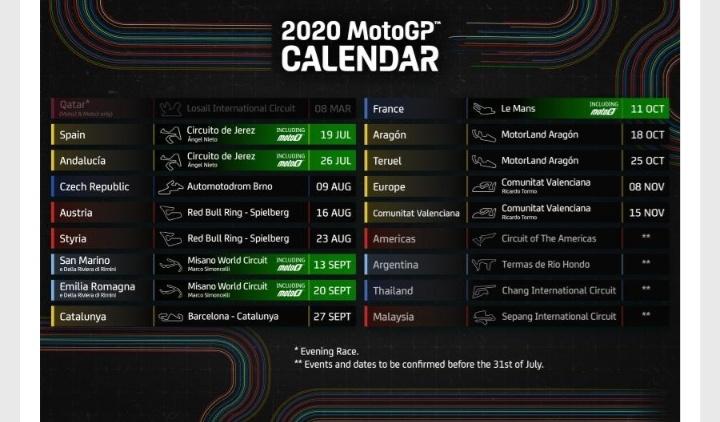 Kalender MotoE 2020 digelar